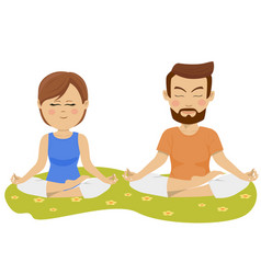 Couple making yoga exercises outdoors vector