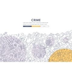 crime Doodle Website Template Design vector image vector image