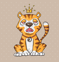 cute cartoon tiger cartoon in comic vector image vector image