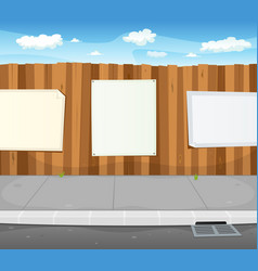 empty signs on urban wood fence vector image vector image