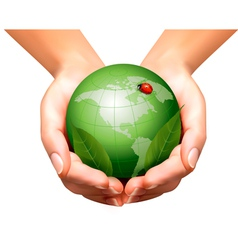 Green world with leaf and ladybug in woman hands vector image vector image