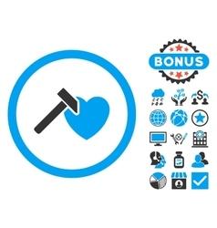 Heart hammer flat icon with bonus vector