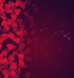 hearts background in purple vector image vector image