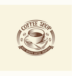 Isolated abstract brown color coffee cup logo vector