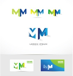 Letter M logo 3d icon set vector image vector image