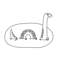 Loch ness monster icon in outline style isolated vector