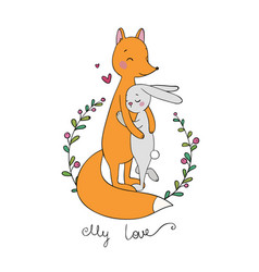 lovely cartoon fox and hare happy animals vector image