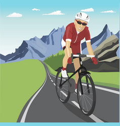 Male professional cyclist riding in mountains vector