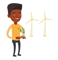 Man holding green small plant vector