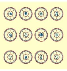 Marine symbols grunge vector