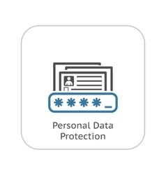 Personal Data Protection Icon Flat Design vector image vector image