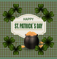 Pot with gold coins and clover image in the vector