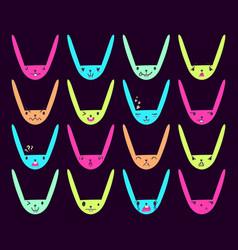 Rabbit handdrawn emoticons color 8 vector