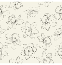 Seamless pattern with flowers narcissus vector image vector image