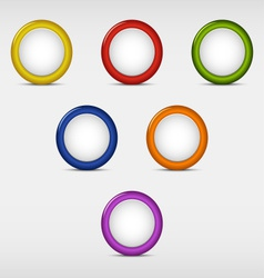 Set of colored round empty buttons vector image
