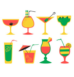 set with alcohol cocktails flat cartoon style vector image