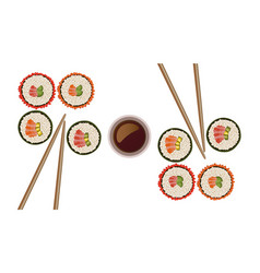 Sushi rolls top view flat style vector