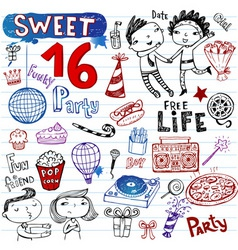 sweet 16 doodles vector image