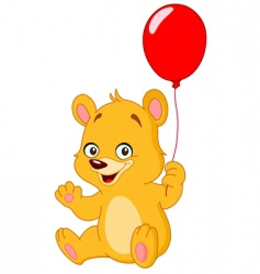 teddy bear holding balloon vector image