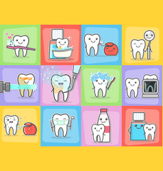 Teeth care treatment and hygiene concepts set vector