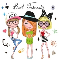 Three Cute girls vector image vector image