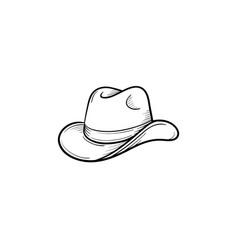 western cowboy hat hand drawn sketch icon vector image