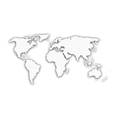White world map with shadow silhouette vector image vector image