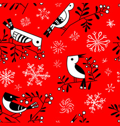 winter seamless pattern with cute doodle birds on vector image