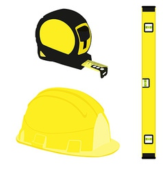 Yellow level construction building helmet and tape vector