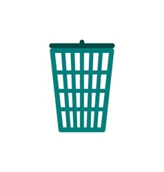 Green trash basket icon flat style vector