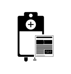 Medical history and iv drip bag icon vector