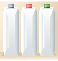 Set of white carton beverage pack for milk vector