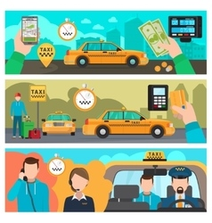 City taxi transportation service banners vector