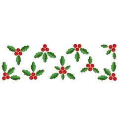 Collection of red holly berries and green leaves vector