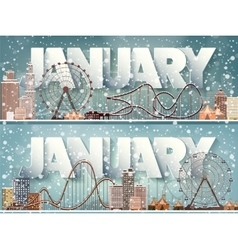 January monthwinter cityscapecity silhouettes vector