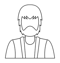 Bearded man icon outline style vector