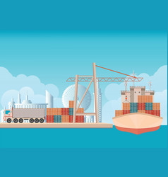 Loading containers on a sea freight cargo ship vector