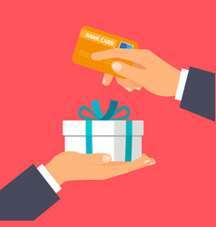 hands holding credit card and present vector image