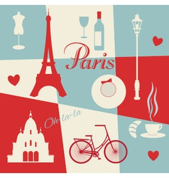 Retro style poster with paris vector