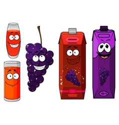 Funny cartoon grape and juice vector