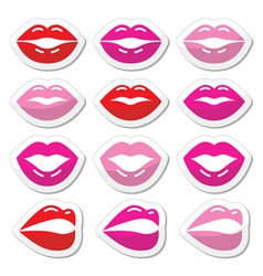 Lips kiss red pink and black glossy icons vector