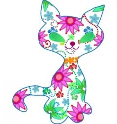 floral kitten illustration vector image