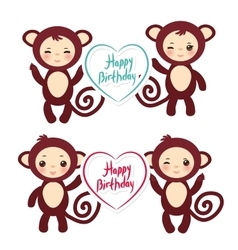 Set of funny brown monkey boys and girls monkey vector image