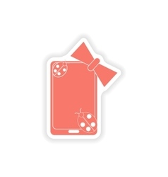 paper sticker on white background mobile phone bow vector image
