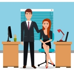 Businesspeople in workspace isolated icon design vector