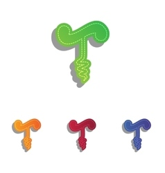 Simple corkscrew sign colorfull applique icons vector