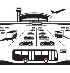 airport parking transfer buses vector image vector image