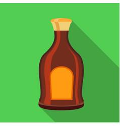 Alcohol brown bottle icon flat style vector