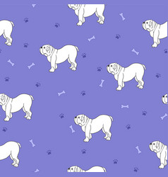 Awesome seamless pattern with cute dog breed vector