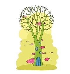 Beautiful magic tree and sea fish vector